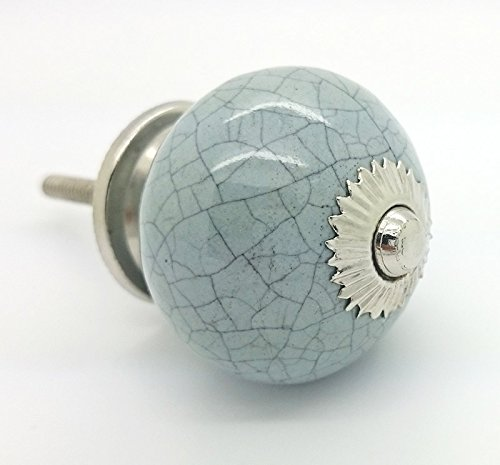 Superb Grey Crackle Round Ceramic Door Knob Vintage Shabby Chic Cupboard Drawer  Pull Handle 4506 GY