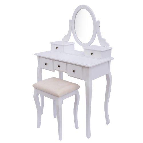 Homcom Antique Style Shabby Chic Dressing Table with Vanity Mirror & Stool – White Homcom Antique Style Shabby Chic Dressing Table with Vanity Mirror Stool White 0