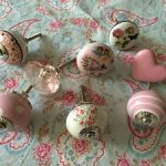 Job lot/set 8 PINK crystal/vintage floral polka ceramic furniture/drawer KNOBS C Job lotset 8 PINK crystalvintage floral polka ceramic furnituredrawer KNOBS C 0 150x150