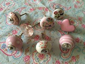 Job lot/set 8 PINK crystal/vintage floral polka ceramic furniture/drawer KNOBS C Job lot/set 8 PINK crystal/vintage floral polka ceramic furniture/drawer KNOBS C Job lotset 8 PINK crystalvintage floral polka ceramic furnituredrawer KNOBS C 0