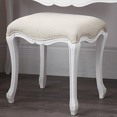 Juliette Shabby Chic Antique White Stool. SOLID French stool with upholstered seat. ASSEMBLED Juliette Shabby Chic Antique White Stool. SOLID French stool with upholstered seat. ASSEMBLED Juliette Shabby Chic Antique White Stool Only 0 400x400