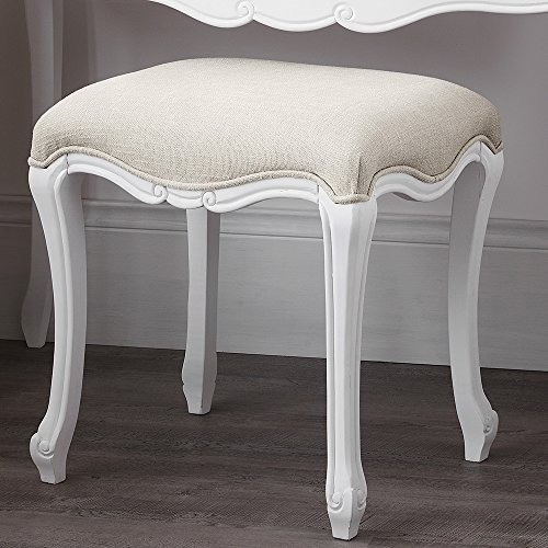 Juliette Shabby Chic Antique White Stool. SOLID French stool with upholstered seat. ASSEMBLED Juliette Shabby Chic Antique White Stool Only 0