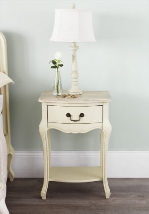 Juliette Shabby Chic Champagne 1 Drawer Bedside Table, Cream French bedside cabinet. ASSEMBLED Juliette Shabby Chic Champagne 1 Drawer Bedside Table 0 300x429