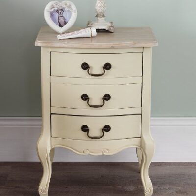 Juliette Shabby Chic Champagne 3 Drawer Bedside Table. French cream bedside cabinet with limed finish top. FULLY ASSEMBLED Juliette Shabby Chic Champagne 3 Drawer Bedside Table. French cream bedside cabinet with limed finish top. FULLY ASSEMBLED Juliette Shabby Chic Champagne 3 Drawer Bedside Table 0 400x400