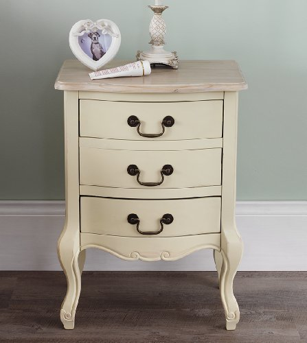Juliette Shabby Chic Champagne 3 Drawer Bedside Table. French cream bedside cabinet with limed finish top. FULLY ASSEMBLED Juliette Shabby Chic Champagne 3 Drawer Bedside Table 0
