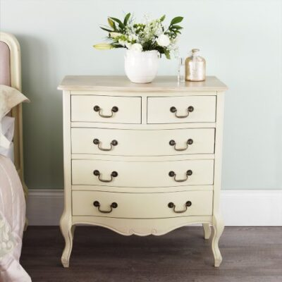 Juliette Shabby Chic Champagne Chest of drawers. French cream 5 drawer chest with limed finish top. FULLY ASSEMBLED Juliette Shabby Chic Champagne Chest of drawers. French cream 5 drawer chest with limed finish top. FULLY ASSEMBLED Juliette Shabby Chic Champagne 5 Drawer Chest 0 400x400