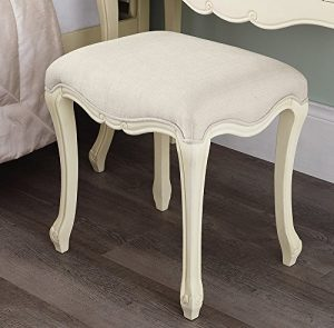 Juliette Shabby Chic Champagne Stool Juliette Shabby Chic Champagne Stool. Stunning cream French stool with upholstered seat. STURDY and ASSEMBLED Juliette Shabby Chic Champagne Stool 0 300x295