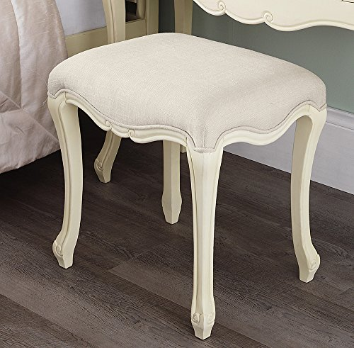 Juliette Shabby Chic Champagne Stool Juliette Shabby Chic Champagne Stool. Stunning cream French stool with upholstered seat. STURDY and ASSEMBLED Juliette Shabby Chic Champagne Stool 0