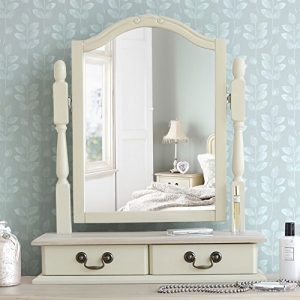 Juliette Shabby Chic Champagne Trinket Mirror, Cream dressing table mirror with 2 drawers, adjustable angle mirror Juliette Shabby Chic Champagne Trinket Mirror Cream dressing table mirror with 2 drawers adjustable angle mirror 0 300x300