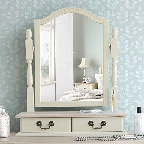 Juliette Shabby Chic Champagne Trinket Mirror, Cream dressing table mirror with 2 drawers, adjustable angle mirror Juliette Shabby Chic Champagne Trinket Mirror Cream dressing table mirror with 2 drawers adjustable angle mirror 0