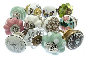 Mixed Set of Vintage Style Ceramic Cupboard Knobs x Pack 12 (MG-251) – 'Mango Tree' TM Registered Product Mixed Set of Vintage Style Ceramic Cupboard Knobs x Pk 12 GEE 02 Vintage Chic TM 0 300x200