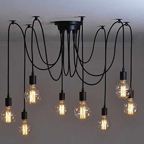 ONEVER E27 Loft Antique Chandelier Modern Chic Industrial Dining Light Ajustable DIY Ceiling Spider Light Pendant Lamp with 8 Light Heads Adapter No Bulbs ONEVER E27 Loft Antique Chandelier Modern Chic Industrial Dining Light Ajustable DIY Ceiling Spider Light Pendant Lamp with 8 Light Heads Adapter No Bulbs 0