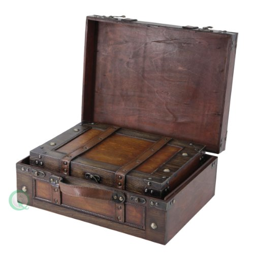 Vintiquewise Old Style Suitcase/Decorative Box with Straps, Wood, Antique Brown, Set of 2 Old Style Suitcase With Stripes Set of 2 0