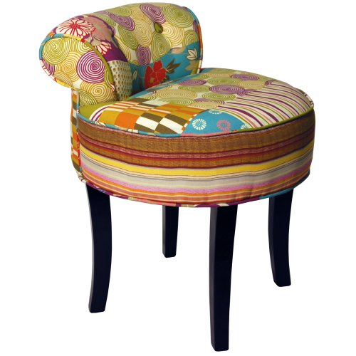 Patchwork Shabby Chic Chair Stool Wood Legs Multi