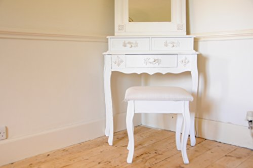 Paris Shabby Chic French Style Dressing Table With Mirror And Stool Ivory Colour