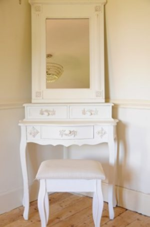 Paris Shabby Chic French Style Dressing Table with Mirror and Stool Ivory Colour Finish Paris Shabby Chic French Style Dressing Table with Mirror and Stool Ivory Colour Finish 0 300x452