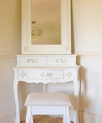 Paris Shabby Chic French Style Dressing Table with Mirror and Stool Ivory Colour Finish Paris Shabby Chic French Style Dressing Table with Mirror and Stool Ivory Colour Finish Paris Shabby Chic French Style Dressing Table with Mirror and Stool Ivory Colour Finish 0 332x400