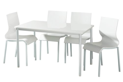 Premier Housewares Dining Table and Chair Set, 5 Piece, 71 x 120 x 75 cm, White Gloss_Parent Premier Housewares Dining Table and Chair Set 5 Piece 71 x 120 x 75 cm White GlossParent 0