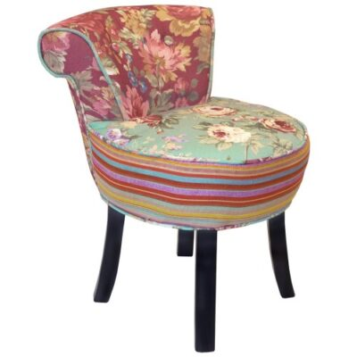 ROSES - Shabby Chic Stool / Fan Back Chair with Wood Legs - Multi-coloured ROSES – Shabby Chic Stool / Fan Back Chair with Wood Legs – Multi-coloured ROSES Shabby Chic Stool Fan Back Chair with Wood Legs Multi coloured 0 400x400