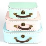 shabby chic suitcase home Home Set of 3 Pastel Coloured Blue Green Pink Retro Suitcases Storage Boxes 0 150x150