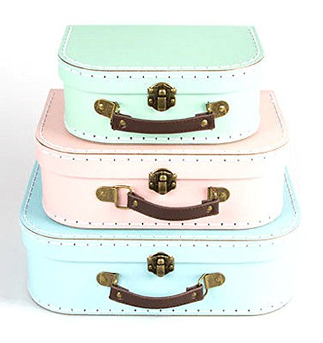 Set of 3 Pastel Coloured Blue Green Pink Retro Suitcases Storage Boxes Set of 3 Pastel Coloured Blue Green Pink Retro Suitcases Storage Boxes 0