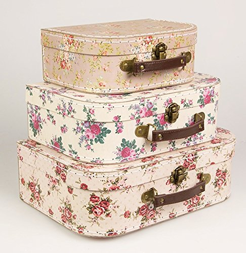 Set of 3 Vintage Rose Suitcases Storage Boxes Set of 3 Vintage Rose Suitcases Storage Boxes 0