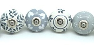 Set of 6 Grey White Ceramic Door Knobs by These Please Vintage
