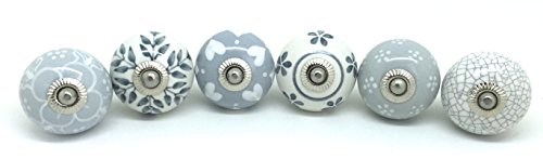 Set of 6 Grey & White Ceramic Door Knobs by These Please Vintage ...