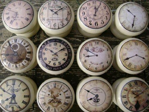 Set Of 8 Cream Vintage Clocks 45mm Shabby Chic Wooden