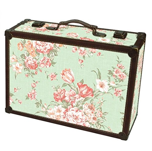 Shabby Chic Green Floral Design Suitcase Large