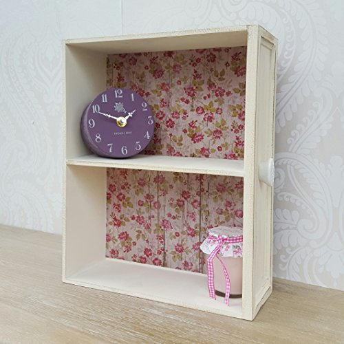Small Wooden Wall Display Cabinet Shelf Unit Cream Shabby