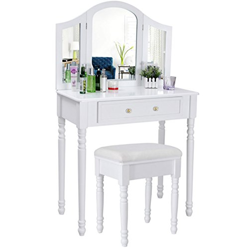 Songmics chic 3 foldable mirrors Dressing Table Set with white stool, 1 big drawer for cosmetics Made-up RDT33W Songmics Chic Dressing Table Set with 3 Foldable Mirrors White Stool 1 Drawer Store for Cosmetics Made up Hair Nail Supplies RDT33W 0