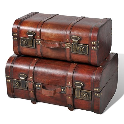Vintage Wooden Treasure Chest Brown 2 PCS Vintage Wooden Treasure Chest Brown 2 PCS 0