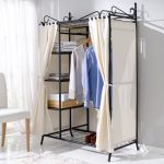 Wardrobe Breezy Metal Frame Cotton Cover Beige Black 109 x 171 x 57 cm Wardrobe Breezy with Metal Frame and Cotton Cover BeigeBlack 109 x 171 x 57 cm 0 150x150