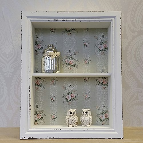 Wooden Wall Display Cabinet Shelf Unit White Pink Shabby Chic Vintage Style Wooden Wall Display Cabinet Shelf Unit White Pink Shabby Chic Vintage Style 0