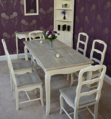 classic casamore devon rectangular dining table and 6 dining chairs in french inspired shabby chic style - free delivery Classic Casamore Devon Rectangular Dining Table and 6 Dining Chairs in French Inspired Shabby Chic Style – FREE DELIVERY Classic Casamore Devon Rectangular Dining Table and 6 Dining Chairs in French Inspired Shabby Chic Style FREE DELIVERY 0 375x400