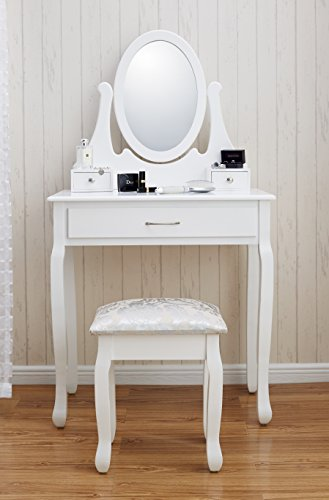 New Amalfi AGTC0009 Dressing Table Mirror Stool Set Shabby Chic Vanity  Bedroom Dresser Amalfi | Dressing