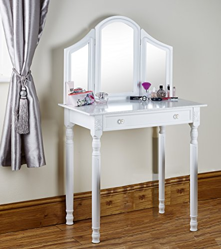 Shabby Chic White Or Black Dressing Table Vanity Makeup Dresser Storage Mirror