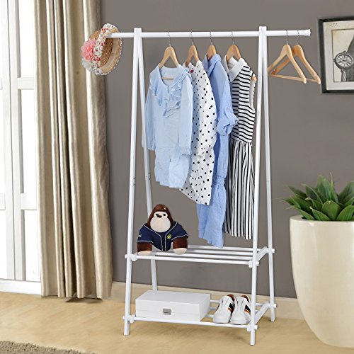 Songmics Stable Metal Clothes Rack With 2 Storage Shelves