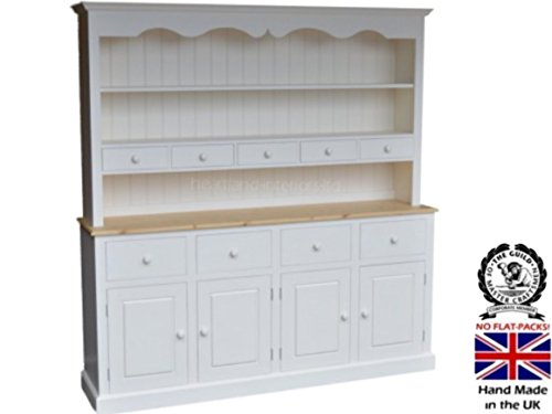 100% Solid Wood Dresser, 6ft Wide Handcrafted & White Painted Contrasting Welsh Dresser. No flat packs, No assembly (6WDSW) 100 Solid Wood Dresser 6ft Wide Handcrafted White Painted Contrasting Welsh Dresser No flat packs No assembly 6WDSW 0