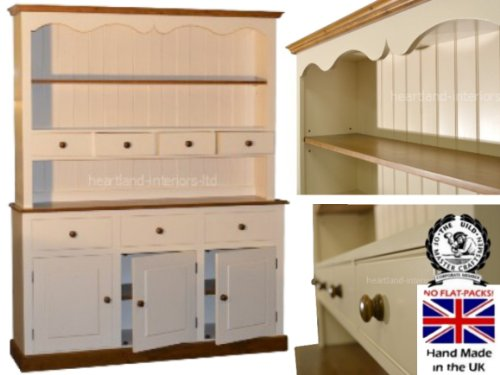 100% Solid Wood Spice Drawer Dresser, 5ft Wide Handcrafted & Cream Painted Contrasting Welsh Dresser. No flat packs, No assembly (5WDSP) 100 Solid Wood Spice Drawer Dresser 5ft Wide Handcrafted Cream Painted Contrasting Welsh Dresser No flat packs No assembly 5WDSP 0
