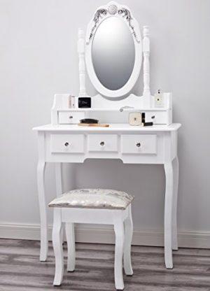 Capri | Dressing Table, Mirror & Stool Set| Premium Quality | Laura James | Shabby Chic Capri AGTC0010 White Dressing Table with Stool Mirror 155x80x40 0 300x416