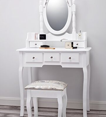 capri | dressing table, mirror & stool set| premium quality | laura james | shabby chic Capri | Dressing Table, Mirror & Stool Set| Premium Quality | Laura James | Shabby Chic Capri AGTC0010 White Dressing Table with Stool Mirror 155x80x40 0 361x400