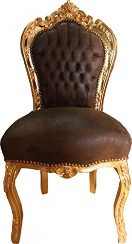 Casa Padrino Baroque Dinner Chair Brown leather look / Gold – Furniture Casa Padrino Baroque Dinner Chair Brown leather look Gold Furniture 0