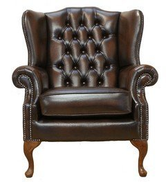 Chesterfield Mallory Flat Wing Queen Anne High Back Wing Chair UK Manufactured Antique Brown Chesterfield Mallory Flat Wing Queen Anne High Back Wing Chair UK Manufactured Antique Brown 0