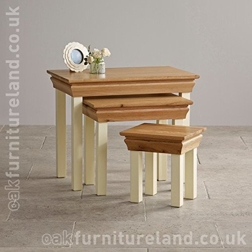 Country Cottage Natural Oak and Painted Nest of Tables Country Cottage Natural Oak and Painted Nest of Tables 0