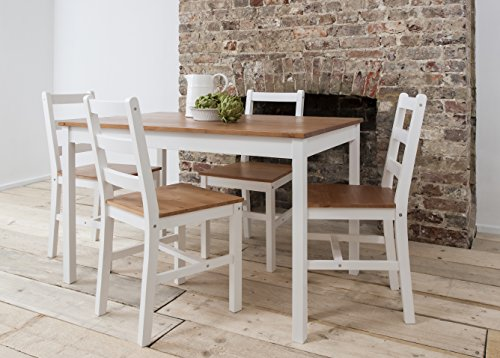 Dining Table Amp 4 Chairs Annika In White And Natural Pine