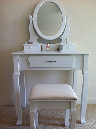JASMINE WHITE DRESSING TABLE SET WITH ADJUSTABLE OVAL MIRROR AND ...