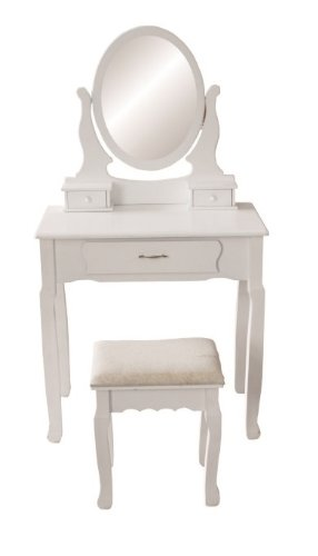 JASMINE WHITE DRESSING TABLE SET WITH ADJUSTABLE OVAL MIRROR AND STOOL, BEDROOM MAKE UP FURNITURE JASMINE WHITE DRESSING TABLE SET WITH ADJUSTABLE OVAL MIRROR AND STOOL BEDROOM MAKE UP FURNITURE 0