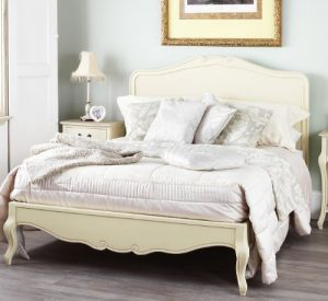 Juliette Shabby Chic Champagne Double Bed with wooden headboard Juliette Shabby Chic Champagne Double Bed with wooden headboard 0 300x275
